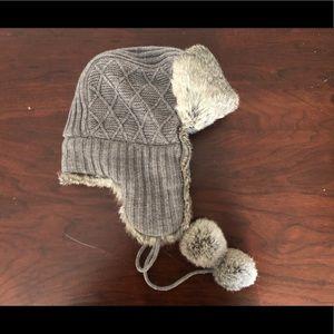 AQUA Grey cable knit and rabbit fur hat